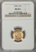 Liberty Quarter Eagles, 1904 $2 1/2 MS66+ NGC. NGC Census: (197/111). PCGS Population (193/50). Mintage: 160,700. Numismedia Wsl. Price for problem...
