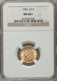 1904 $2 1/2 MS66+ NGC. NGC Census: (197/111). PCGS Population (193/50). Mintage: 160,700. Numismedia Wsl. Price for prob...