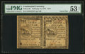 Colonial Notes:Continental Congress Issues, Continental Currency February 17, 1776 $1/3 Horizontal Pair PMGAbout Uncirculated 53 Net.. ...