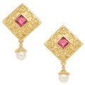 Estate Jewelry:Earrings, Rhodolite Garnet, Cultured Pearl, Gold Earrings. ...