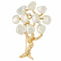 Estate Jewelry:Brooches - Pins, Freshwater Cultured Pearl, Diamond, Gold Brooch . ...