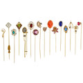 Estate Jewelry:Stick Pins and Hat Pins, Multi-Stone, Diamond, Seed Pearl, Gold, Yellow Metal Stickpins. ...(Total: 16 Items)