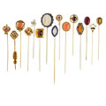 Estate Jewelry:Brooches - Pins, Lot of Multi-Stone, Diamond, Gold, Silver, Base Metal Stickpins. ... (Total: 15 Items)
