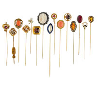 Lot of Multi-Stone, Diamond, Gold, Silver, Base Metal Stickpins