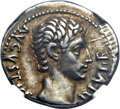 Ancients:Roman Imperial, Ancients: Augustus (27 BC-AD 14). AR denarius (3.85 gm)....