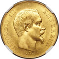 France, France: Napoleon III gold 50 Francs 1855-A MS63+ NGC,...