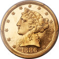 Proof Liberty Half Eagles, 1886 $5 PR64 Deep Cameo PCGS. CAC....
