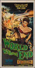 "Movie Posters:Science Fiction, World Without End & Other Lot (Allied Artists, 1956). ThreeSheet (41"" X 80"") and Lobby Card (11"" X 14""). Science Fiction.. ...(Total: 2 Items)"