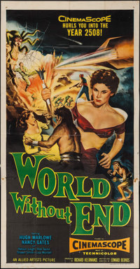 "World Without End & Other Lot (Allied Artists, 1956). Three Sheet (41"" X 80"") and Lobby Card (11"" X 1..."