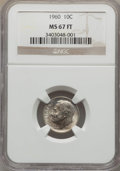 Roosevelt Dimes, 1960 10C MS67 Full Bands NGC. NGC Census: (22/0). PCGS Population (28/0). Mintage: 70,300,000. Numismedia Wsl. Price for pr...