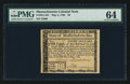 Colonial Notes:Massachusetts, Massachusetts May 5, 1780 $8 PMG Choice Uncirculated 64.. ...