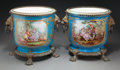 Ceramics & Porcelain, Continental:Other , A Pair of Sèvres-Style Painted Porcelain and Bronze-MountedJardinières, 19th century in part. Marks: (Pseudo-Sèvres marks t...(Total: 2 Items)