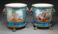 A Pair of Sèvres-Style Painted Porcelain and Bronze-Mounted Jardinières, 19th century in part Marks: (Pseu...
