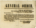 "Military & Patriotic:Civil War, Confederate Military Broadside, GENERAL ORDER, one page, 13"" x 10"", Charleston, Virginia (now West Virginia), September 24, ..."