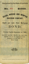 """Military & Patriotic:Civil War, Nathan Bedford Forrest Document Signed Twice, """"N B Forrest"""". $1000 bond for the Selma, Marion & Memphis Railroad, one pa..."""