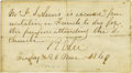 """Military & Patriotic:Civil War, Robert E. Lee Autograph Note Signed, """"R E Lee"""". One page, 5"""" x 2.75"""", Lexington, Virginia, March 26, 1869. The body of t..."""
