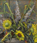 Texas:Early Texas Art - Impressionists, CATHERINE MCKINLEY SMITH (1908-1990). Untitled Still Life withSunflowers. Oil on masonite. 12in. x 10in.. Signed lower left...