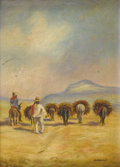 Paintings, MAY WATSON (1879-1959). Untitled Donkeys Carrying Firewood, 1930s. Oil on canvas. 15.25in. x 11in.. Signed lower right. Th...