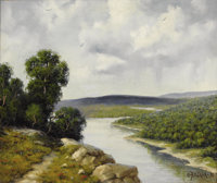 A. D. GREER (1904-1998) Overlook, 1995 Oil on canvas 20in. x 24in. Signed and dated lower right  Likely painted wh