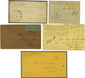 Military & Patriotic:Civil War, Group of Five Scarce Confederate Covers Associated With Texas. Homemade cover with Anderson postmark and manuscript Paid 1...