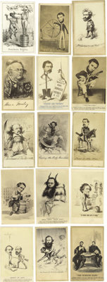 A Phenomenal Collection of 59 Civil War Cartoon Cartes de Visite Unquestionably the finest grouping of these sought-afte...