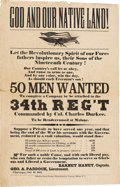 """Military & Patriotic:Civil War, Civil War Recruiting Broadside for the 34th N.Y. Regiment. """"GOD AND OUR NATIVE LAND!"""" is the heading on this 11.5""""x 17.5..."""