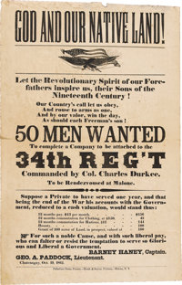 "Civil War Recruiting Broadside for the 34th N.Y. Regiment. ""GOD AND OUR NATIVE LAND!"" is the heading on this 1..."