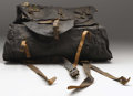 """Military & Patriotic:Civil War, Union Army Enlisted Knapsack Black oil cloth, complete with all leather straps, including metal buckles (missing one """"J"""" hoo..."""