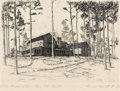 Texas:Early Texas Art - Drawings & Prints, REVEAU BASSETT (1897-1981). Lake Home of Mr. & Mrs. J.W.Sowell. Etching. 5.25in. x 6.5in.. Signed lower right. Titledl...