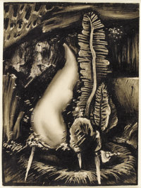 William Lester, (1910-1991) Abstraction 1934 Litho crayon on paper 11 x 8in. Signed and titled on previous mounting &...
