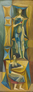 Paintings, BROR UTTER (1913-1993). Two Women, 1956. Oil on masonite. 48in. x 18in.. Signed and dated lower right. A classic Bror ...