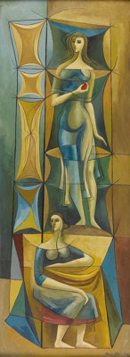 BROR UTTER (1913-1993) Two Women, 1956 Oil on masonite 48in. x 18in. Signed and dated lower right  A classic Bror