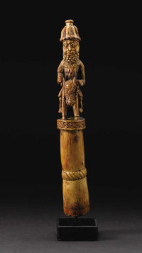 Benin (Nigeria) Fine Equestrian Figure Topping an Ideophone, circa 16th century Ivory Height: 11 ¼ inches Width:...