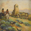 Paintings, MAY WATSON (1879-1959). Untitled Mission Ruins. Oil on masonite. 14in. x 14in.. Signed lower right. Painted on the rough s...