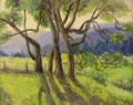 Texas:Early Texas Art - Regionalists, LOIS DENTON (1887-1980). Old Walnut Trees at Mescalero. Oilon canvasboard. 24in. x 30in.. Signed lower right. Signed an...
