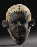 African: , Makua (?) (Mozambique). Face Mask. Wood, pigment, cloth, cord. Height: 10 ¾ inches Width: 8 ¾ inches Depth: 5 inches. As...
