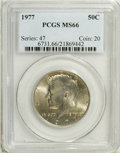 Kennedy Half Dollars: , 1977 50C MS66 PCGS. PCGS Population (122/27). NGC Census: (83/24).Mintage: 43,598,000. Numismedia Wsl. Price: $22. (#6731)...