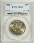 Kennedy Half Dollars: , 1983-P 50C MS65 PCGS. PCGS Population (53/90). NGC Census: (3/39).Mintage: 34,139,000. (#6743)...