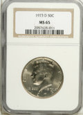 Kennedy Half Dollars: , 1973-D 50C MS65 NGC. NGC Census: (36/85). PCGS Population(115/215). Mintage: 83,171,400. Numismedia Wsl. Price: $10.(#672...
