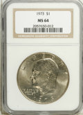Eisenhower Dollars: , 1973 $1 MS64 NGC. NGC Census: (212/212). PCGS Population (762/787). Mintage: 2,000,056. Numismedia Wsl. Price: $10. (#7412)...