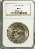 Eisenhower Dollars: , 1976 $1 Type One MS64 NGC. NGC Census: (211/128). PCGS Population (926/432). Mintage: 4,019,000. Numismedia Wsl. Price: $9....