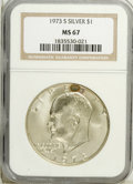 Eisenhower Dollars: , 1973-S $1 Silver MS67 NGC. NGC Census: (425/93). PCGS Population (2371/695). Mintage: 869,400. (#7414)...