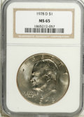 Eisenhower Dollars: , 1978-D $1 MS65 NGC. NGC Census: (1979/153). PCGS Population (608/225). Mintage: 33,012,890. Numismedia Wsl. Price: $13. (#7...