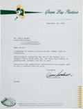 Football Collectibles:Others, 1968 Vince Lombardi Signed Letter to Jerry Kramer - Historic and Controversial Content!...