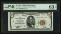 Low Serial Number Fr. 1850-C $5 1929 Federal Reserve Bank Note. PMG Choice Uncirculated 63 EPQ