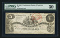 Confederate Notes:1861 Issues, T36 $5 1861 PF-4 Cr. 278.. ...