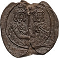 Ancients:Byzantine, Ancients: Leo III the Isaurian (AD 717-741), with Constantine V (AD720-775). PB seal (36mm, 26.12 gm, 12h)....