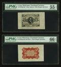 Fractional Currency:Third Issue, Fr. 1236SP 5¢ Third Issue Wide Margin Red Back PMG Gem Uncirculated 66 EPQ. Fr. 1236SP 5¢ Third Issue Wide Margin Red Face... (Total: 2 notes)