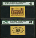 Fractional Currency:First Issue, Fr. 1282SP 25¢ First Issue Wide Margin Pair PMG Choice Uncirculated64 EPQ and 64.. ... (Total: 2 notes)