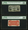 Fractional Currency:Third Issue, Fr. 1274SP 15¢ Third Issue Narrow Margin Face PMG Choice Uncirculated 64. Fr. 1273SP 15¢ Third Issue Narrow Margin Red Bac... (Total: 2 notes)
